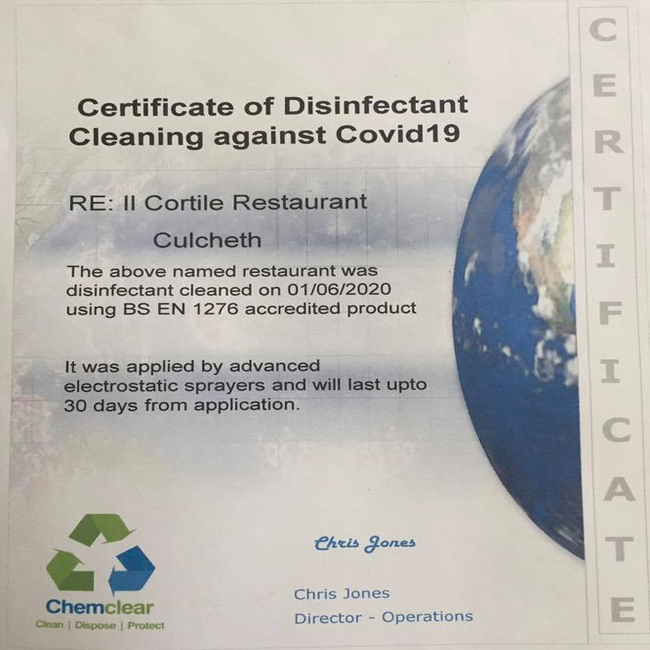 Chemclear-provide-II-Cortile-with-Covid-Secure-Clean-to-reopen-business-2